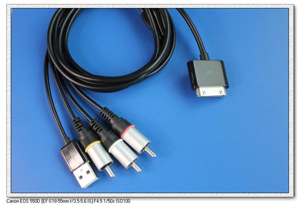 【使用方法】 使用简单直接,只需把视频线插入你的苹果设备,三色线
