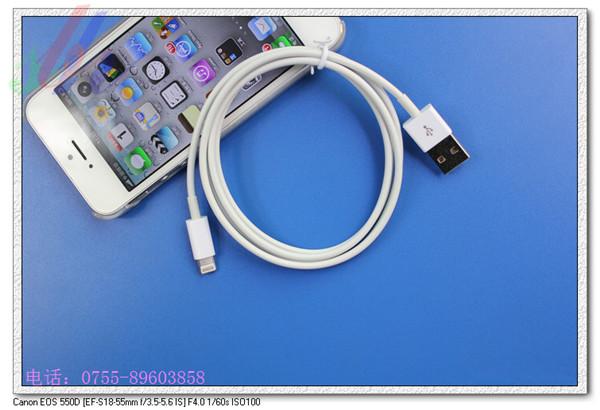 苹果5数据线,让用户可以通过usb 2.0实现数据同步*充电同步.